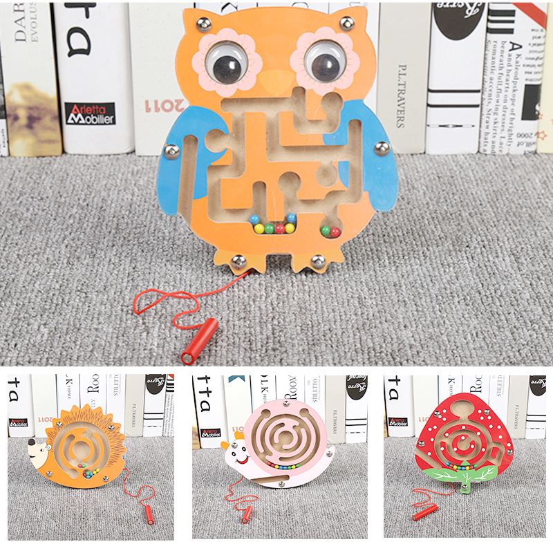 Montessori Materials Educational Wooden Toys For Children Early Learning Preschool Teaching Magnetic Maze Labyrinth Brain Teaser