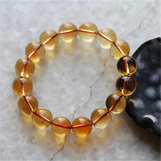 Wholesale Free Shipping 14mm Genuine Natural Citrine Quartz Crystal Round Beads Transparent Stretch Charm Womens Bracelets