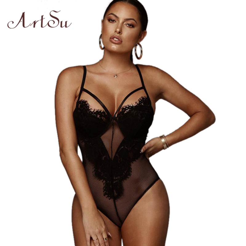 ArtSu Women Sexy Bodysuit Thin Mesh Backless Black Bodycon Female Catsuit Hollow Out Body Romper New Jumpsuit ASJU41010