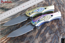 Dcbear Tactical Pocket Folding Knife 440C Titanium Blade Camping Survival Knives 2 Colors Gold & Colorful Handle EDC Tools