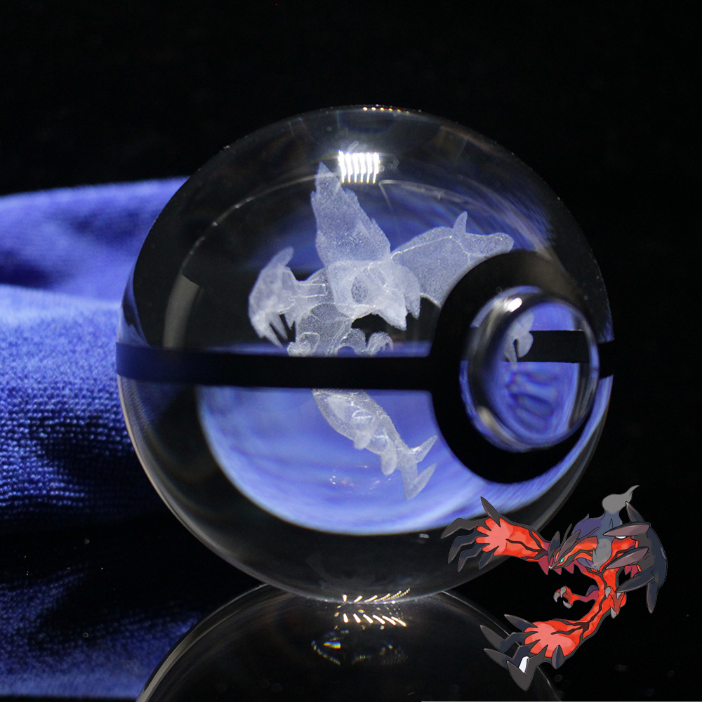 HOT NEW 80MM Pokeball Crystal Pokemon Go Ball With Laser Engraving Yveltal Graduation Gifts
