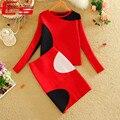 Nueva de dos piezas de ropa 2017 invierno rojo negro patchwork de punto de dos piezas dress ropa mujer de manga larga bodycon viste