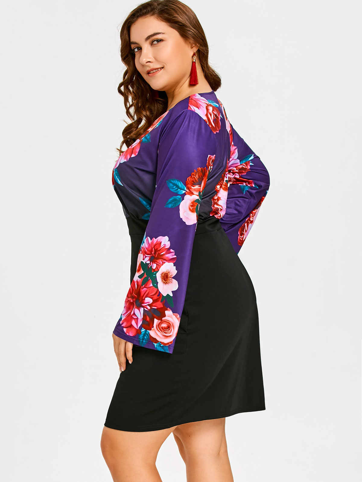 Wisalo плюс размер цветочный принт с длинным рукавом Карандаш Платье приталенное с v-образным вырезом изысканное платье с узкой талией Vestidos 5XL