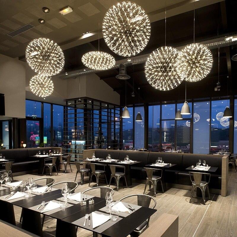 Acier inoxydable feux d'artifice lumière boule LED ampoule lampe lustre éclairage restaurant villa hôtel projet éclairage 110-240 V