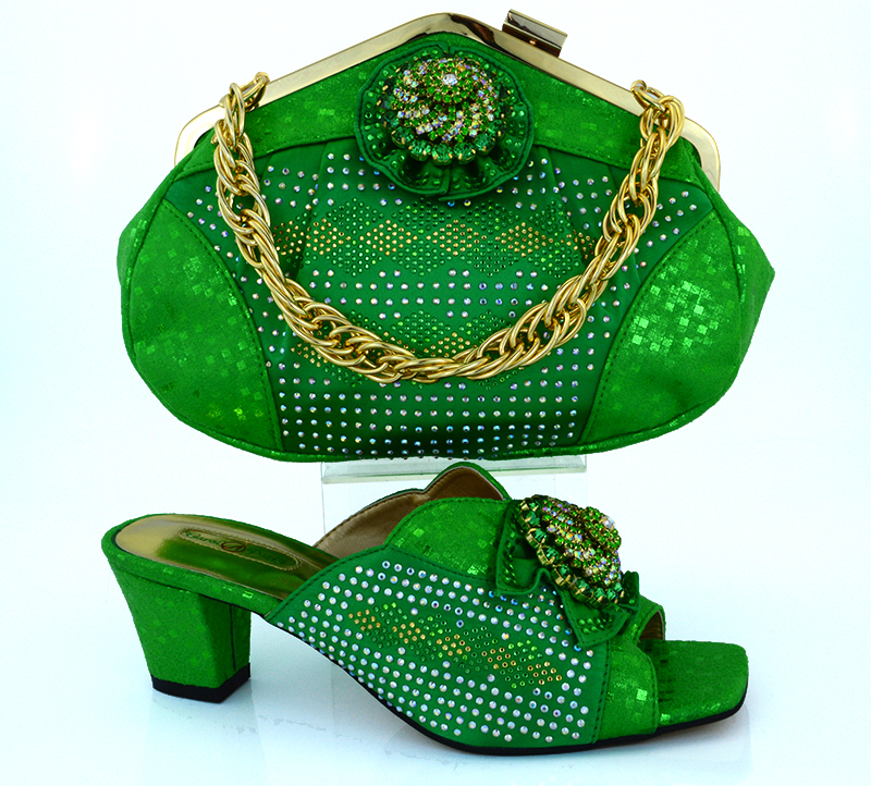 ФОТО fashion latest Italian women shoes and bags set African shoes and matching purse for party!green color !MVB1-43