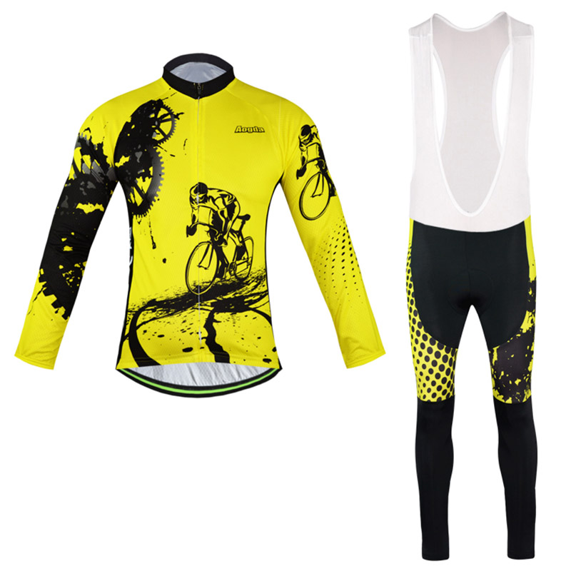 Mens GEL Breathabkle Collar riding Cycling Jersey Outdoor Sports Cycling Bicycle Clothes MTB Bike Long Sleeve Cycling Clothing