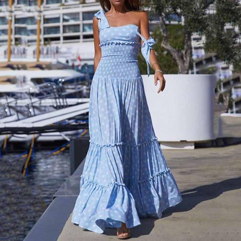 Женское летнее платье без рукавов, сексуальное, гофрированное, синее, фиолетовый горох, модные макси платья с эластичной талией, халат femme