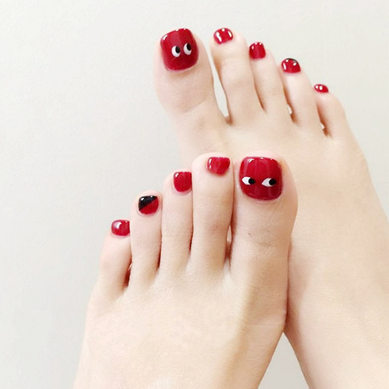 24Pcs/lot False Toe Nails Red Black Heart with Designs Fake Nails ...