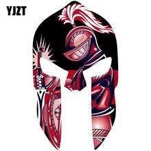 YJZT 8,7 см* 15,2 см Спартанский шлем красный KINGHT оригинальность светоотражающие автомобильные наклейки C1-7015