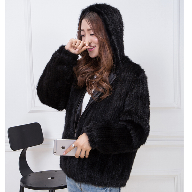 2016 ms selling real mink fur clothes wool woven fur coats hooded thickening bigger sizes fashion knitwear free shipping