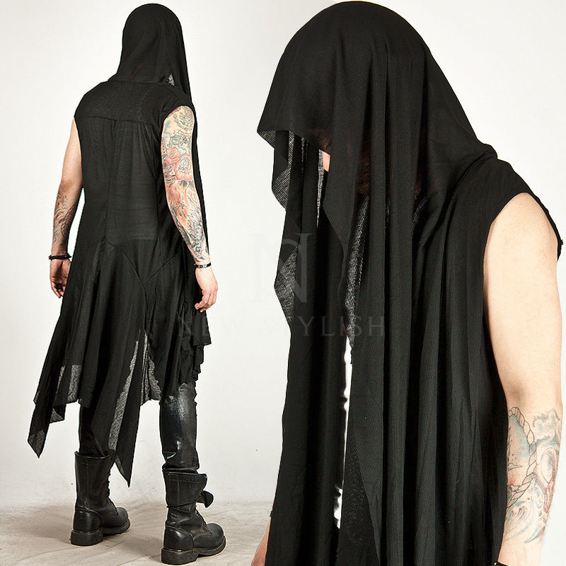 Avant-garde Dark Edge Mens One Size Mod Casual Tops DRAPING LONG SLEEVELESS HOOD CARDIGAN <font><b>Vest</b></font>