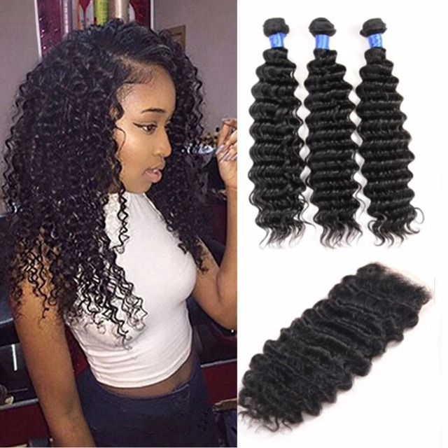 Malaysian Virgin Hair With Closure 3 Bundle Deals deep waveCurly Weave Human Hair With Closure Malaysian Curly Hair With Closure