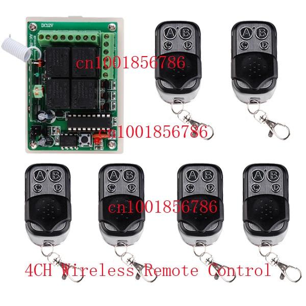 Nouveau 12 V 4CH 1 Récepteur 6 Transmetteur Télécommande Sans Fil Way de Travail est Réglable 200 M Pour porte de Garage/fenêtre/Lampe