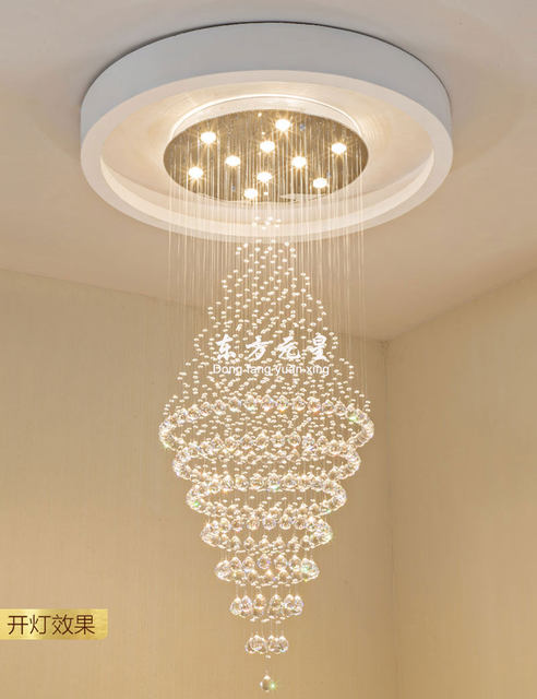 Online shop crystal chandelier led lamp stair light droplight crystal chandelier led lamp stair light droplight villa double entry long circular crystal lighting for the lobby aloadofball Image collections
