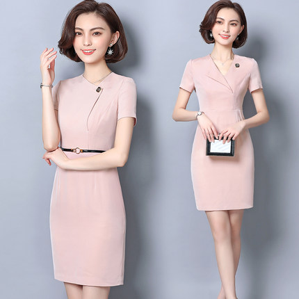 Summer Female 2019 New Slim Han Version Elegant Temperament Ol Professional Workwear Dress Beautician Work Clothes