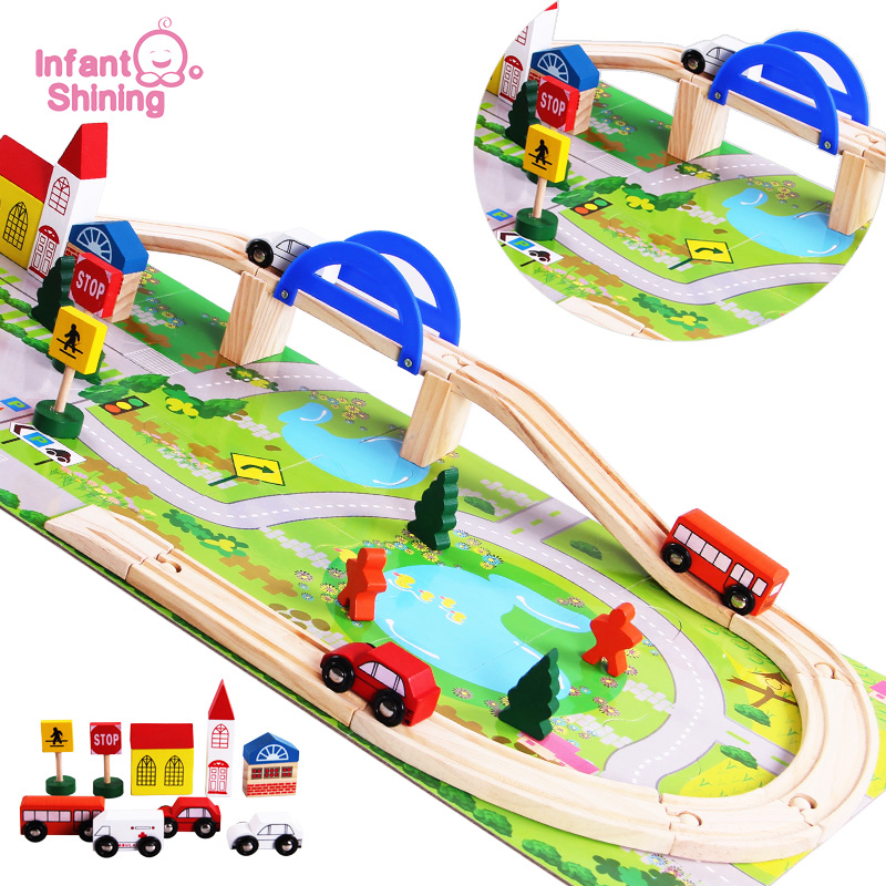 Infant Shining Baby Toys Wooden Toy Cars Traffic Puzzle Blocks  Educational Blocks Overpass Toy Jigsaw Puzzles DIY Railway ToyInfant Shining Baby Toys Wooden Toy Cars Traffic Puzzle Blocks  Educational Blocks Overpass Toy Jigsaw Puzzles DIY Railway Toy