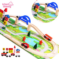 Infant Shining Baby Toys Wooden Toy Cars Traffic Puzzle Blocks Educational Blocks Overpass Toy Jigsaw Puzzles DIY Railway Toy