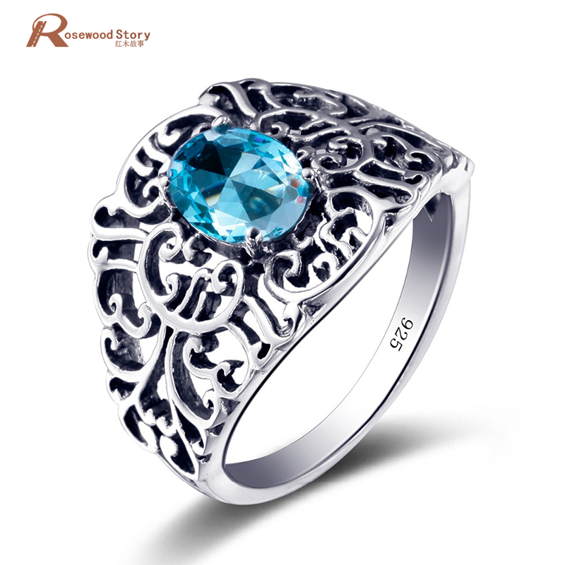 Russia 2017 Unique Luxury Brand Jewelry Moonlight Blue Stones Crystal Ring Solid 925 Sterling Silver Vintage Rings for Women
