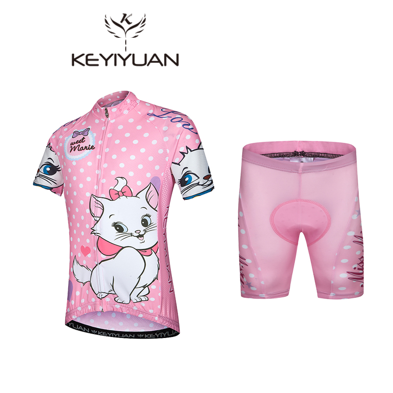KEYIYUAN Children Cycling Jersey White Cartoon Cat Bike Cycling Clothing Breathable Bicycle Short Sleeve Jersey For Kids S-5XL