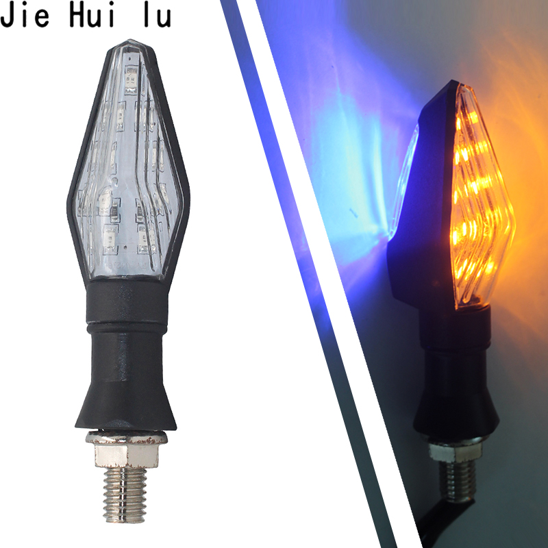 2Pcs Motorcycle Turn Signal Light Waterproof Indicator Amber and Blue Lamp Turn Signal Lights Flasher Moto Accessories