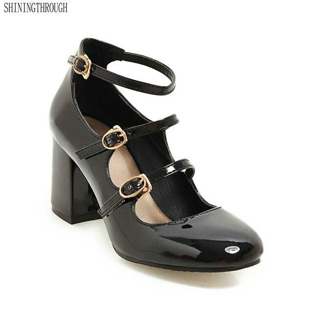 62f2e5b21b New Japanese Harajuku Mori Girl Sweet buckle Chunky high Heels Cross Straps  Kawaii Lolita Shoes cosply