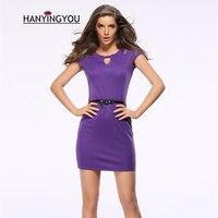 2017 new women summer short sleeves Hollow Out Solid Slim Sheath Mini dress O-neck purple/black Work Causal  Pencil dress
