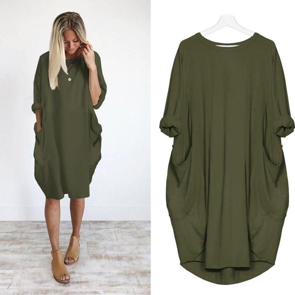 Telotuny women clothing Pocket Loose Brief office dress women summer dress women beach maternity clothes JL 19 Одежда