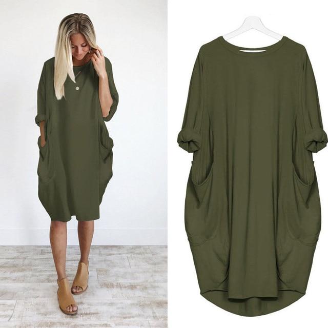 Telotuny women clothing Pocket Loose Brief office dress women summer dress women beach maternity clothes JL 19