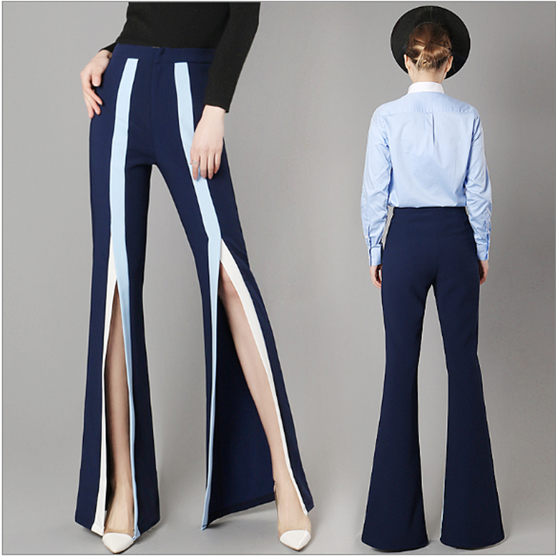 2017 Spring Fashion High Waist Hit Colors Stripe Split Flare Pants Women Long Wide-Legge ...