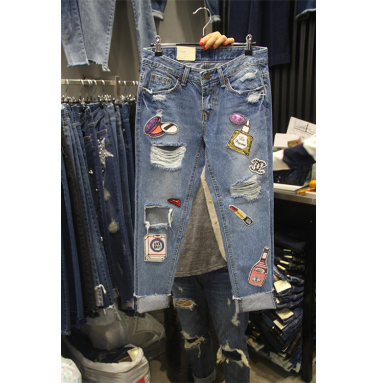 2019 Korean Spring Women's Blue Jeans Retro Hole Patched Harem Pants Long Trousers Girl Students Denim Trousers Pants