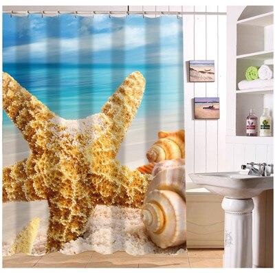 Custom Summer Beach Stone Sea Shells Shower Curtain Moden Home Decor European Style Bathroom Fabric Waterproof