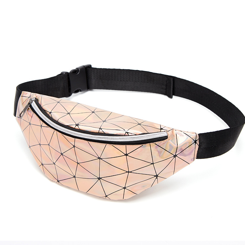 Sequined Rhombus Waist Bags Women Pink Silver Fanny Pack Female Belt Bag Black Geometric Waist Packs Laser Chest Phone Pouch