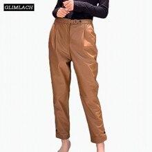 Luxury Sheepskin High Waist Genuine Leather Trousers Women Loose Natural Real Pencil Pants Harem Lady Streetwear