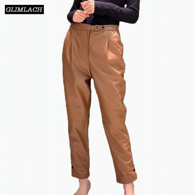 Luxury Sheepskin High Waist Genuine Leather Trousers Women Loose Natural Real Leather Pencil Pants Harem Pants Lady Streetwear