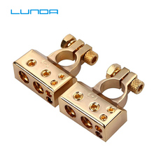 LUNDA позолоченный автомобильный батарейный терминал положительный/отрицательный автомобильный аккумулятор разъем крышки аккумулятора терминал разъем