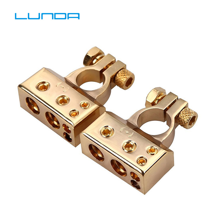 Lunda 금도금 자동차 배터리 터미널 포지티브/네거티브 자동차 배터리 커넥터 배터리 캡 터미널 커넥터