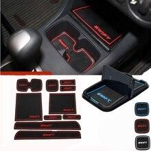 Автомобильный держатель для телефона, резиновый коврик для автомобиля, внутренняя подушка для чашки, коврик для двери, наклейки для SUZUKI Swift 2005-2014