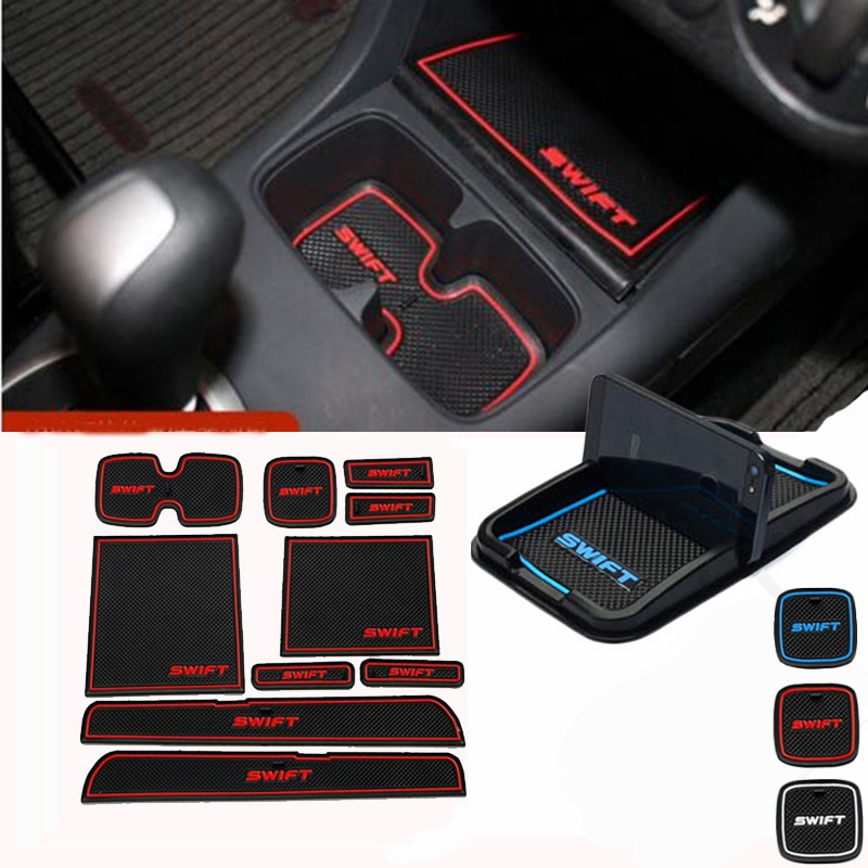 car phone holder gate slot pad rubber car-cup Interior cup cushion Door Mat Cup stickers covers For SUZUKI Swift 2005 to 2014 2014 pastoral cup
