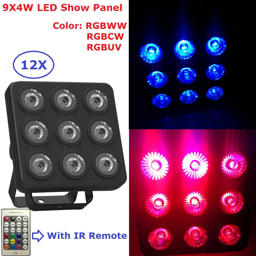 12Pack 9X4W RGBW/RGBUV 4IN1 LED Show Panel Flat Par Light DMX Stage Lights Business Lights Professional Flat Par Cans For Discos12Pack 9X4W RGBW/RGBUV 4IN1 LED Show Panel Flat Par Light DMX Stage Lights Business Lights Professional Flat Par Cans For Discos