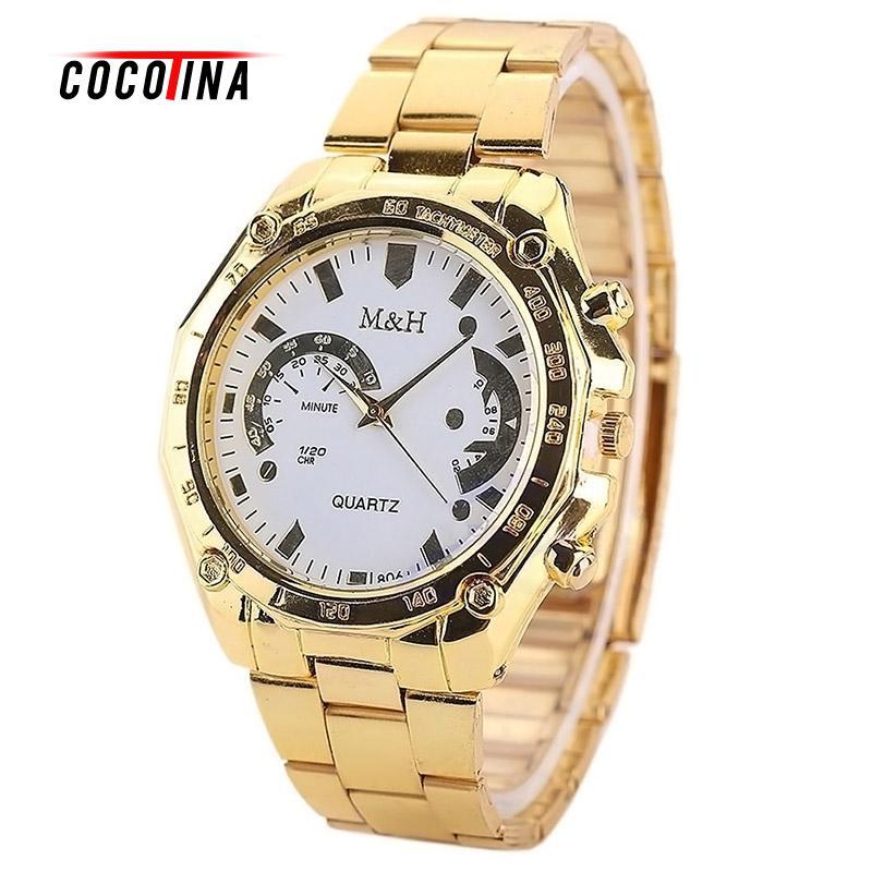 COCOTINA Luxury Women Men s Golden Stainless Steel Band Analog Quartz Sport Wrist Watch L05966