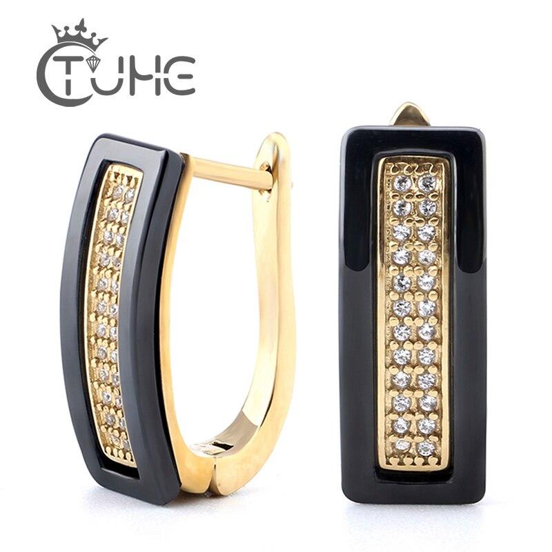 Nova chegada u forma de cristal brincos de cerâmica para mulheres moda melhores amigos ouro preto branco brincos de cerâmica orelha jóias