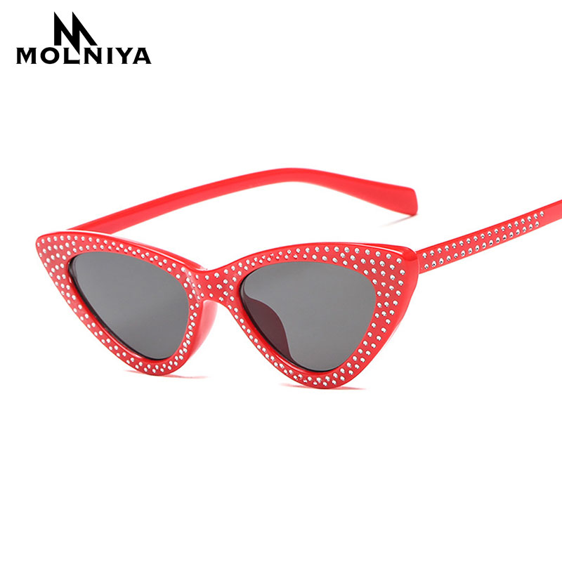 MOLNIYA New Small Frame Rhinestone Cat Eye Sunglasses Women Red Black 2018 Fashion cat eye Sun Glasses for women uv400