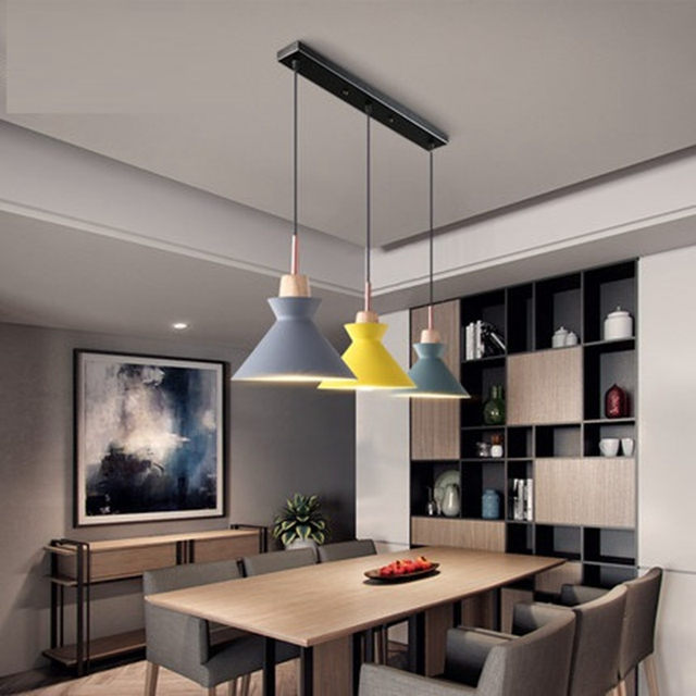 Pack of 3 Dining Table Lamp Lights Macaroon Colorful LED Modern Pendant Lamp Hanglamp for Kitchen Island Ceiling Room Lighting