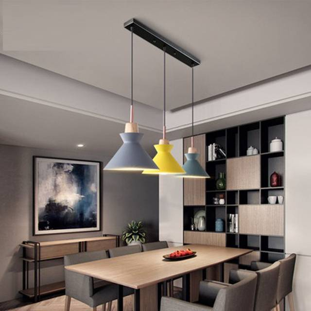 Us 93 81 20 Off Pack Of 3 Dining Table Lamp Lights Macaroon Colorful Led Modern Pendant Hanglamp For Kitchen Island Ceiling Room Lighting In