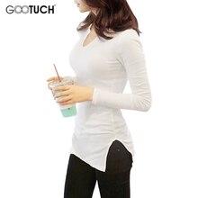 נשים כותנה חולצה מקרית למתוח ארוך חולצת טי סימטרי צוואר חולצה בסיסית ארוך שרוול Tees 5XL 6XL בתוספת גודל למעלה Tees 2303