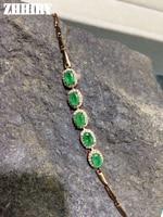 Zhhiry פנינת ברקת טבעי צמיד כסף סטרלינג 925 מוצק אמיתי יקר green stone נשף נשים תכשיטים אמיתיים בסדר