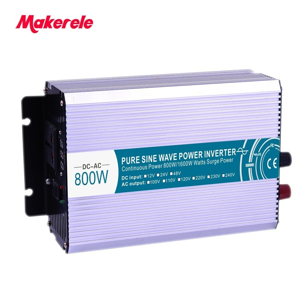 800W pure sine wave solar power inverter DC 12V 24V 48V to AC 110V 220V 1pcs lot sh b17 50w 220v to 110v 110v to 220v