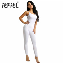 b864d63883 Women Adult One-piece Playsuits Spaghetti Strapped Footless Stretchy Solid Tank  Unitard Yoga Dance Leotard