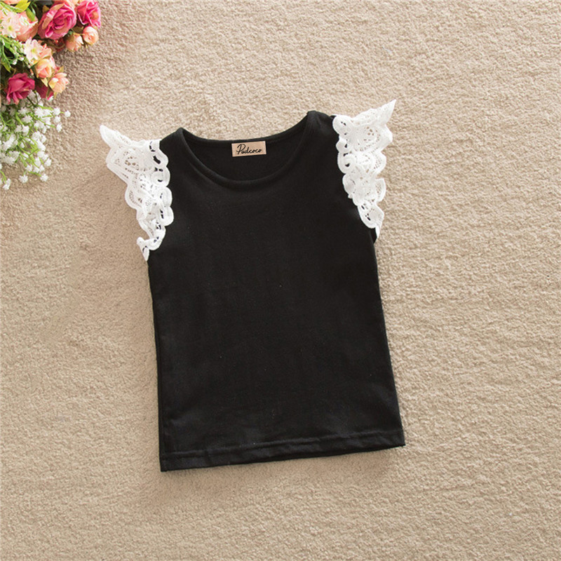 Kids Baby Girls Cute Lace Shoulder T-shirts Short Sleeve Tops Blouse Shirts 0-4Y