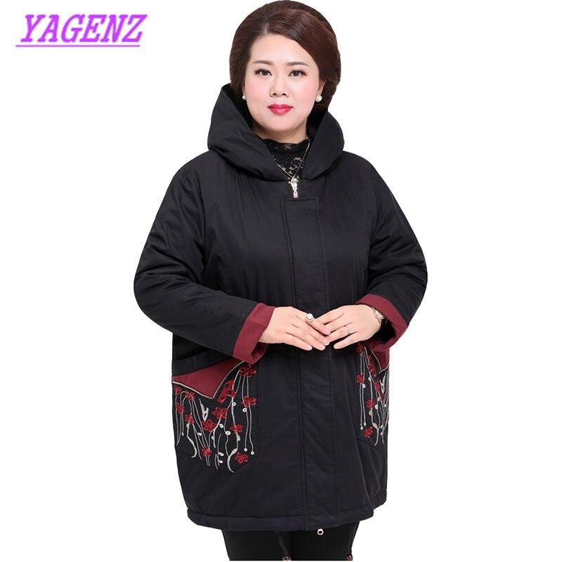 Frauen mittleren alters Winter Unten baumwolle Jacke Plus größe Frauen Lose Lange Baumwolle Oberbekleidung Hochwertige Mit Kapuze Mantel 6XL 7XL 420 - 2